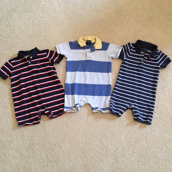 483ebc3d6 ... where to buy set of 3 polo ralph lauren striped bodysuits cdc5f 90a52